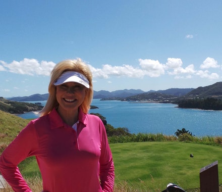 Kerrie Anne Kennerley enjoys her golf holiday on Hamilton Island