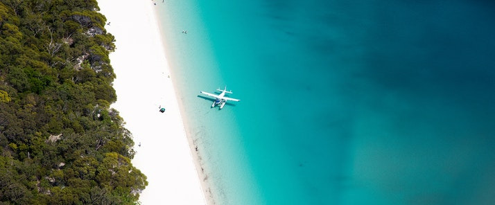 Seaplane at Whitehaven beach from Hamilton Island