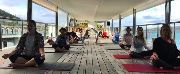 Lola Berry yoga Wheel at Hamilton Island