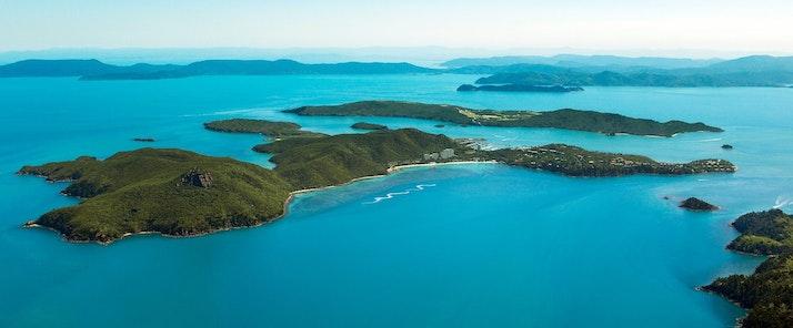Get an amazing aerial view of Hamilton Island as you arrive - luxury holiday Hamilton Island